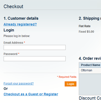User Login in J2T OneCheckout