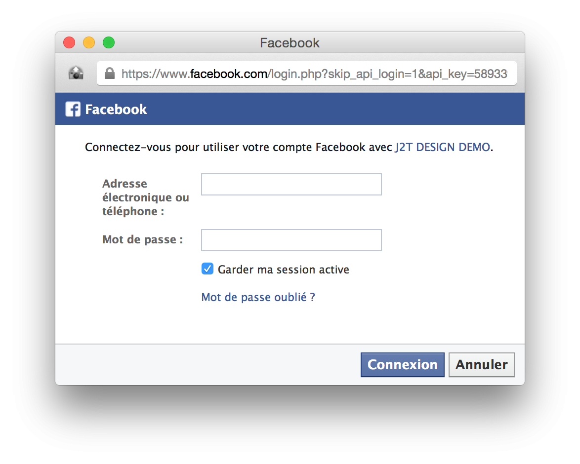 Facebook sigin in window
