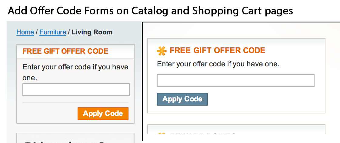 Offer code forms