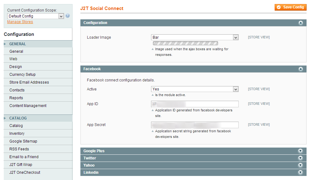J2T Social Connect Configuration screen
