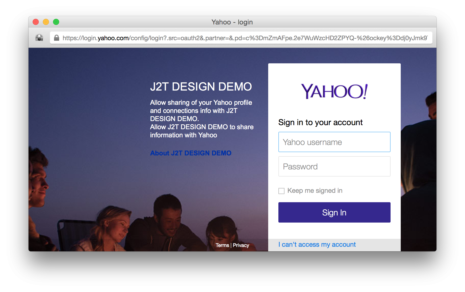Yahoo sigin in window