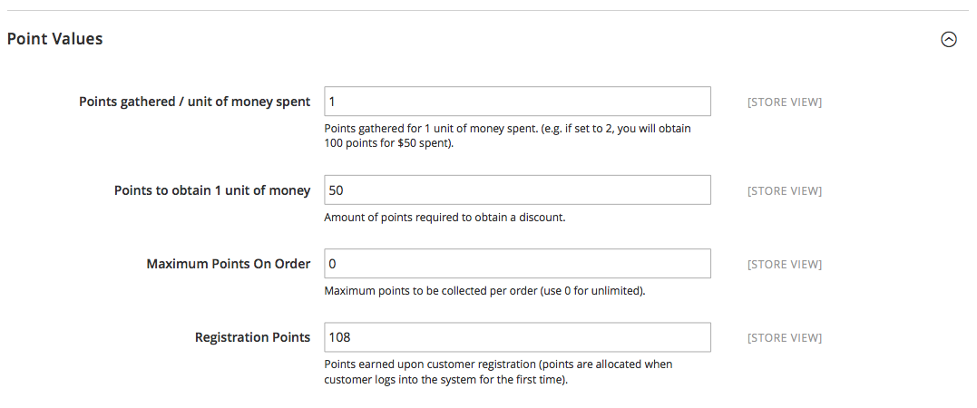 Reward Points Admin Point Value Configuration