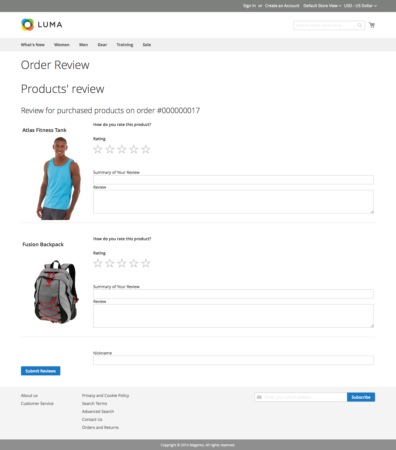 Products review page