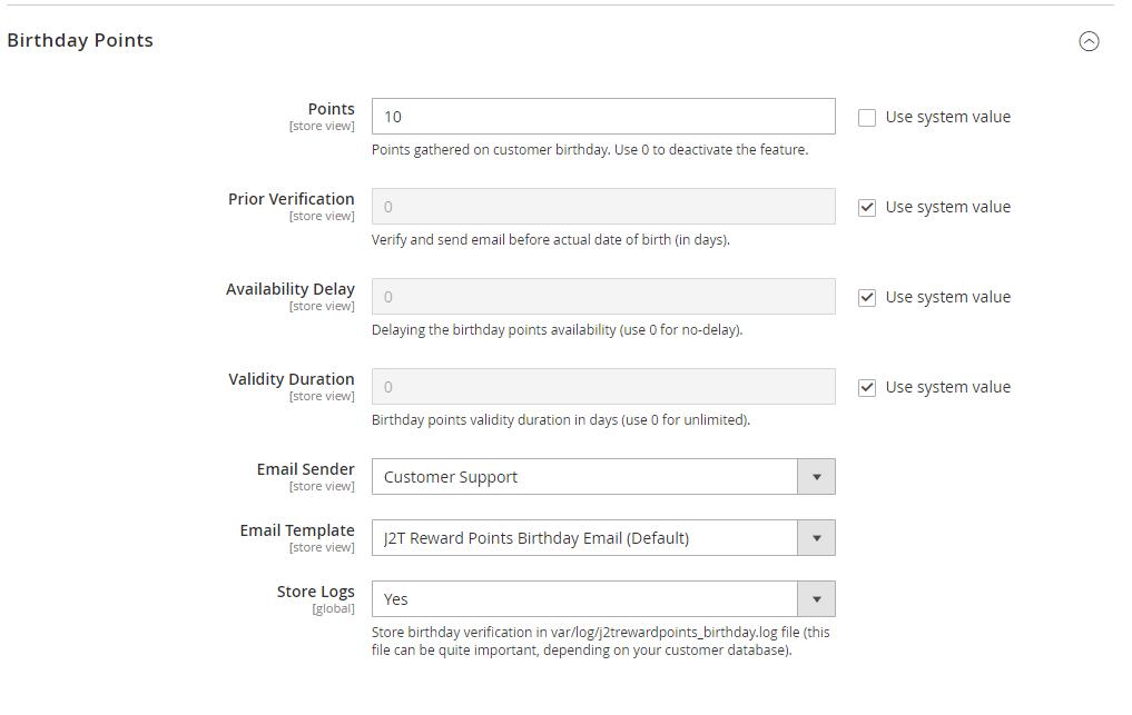 J2T Points & Rewards - Points on birthday