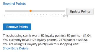 Reward points box in shopping cart