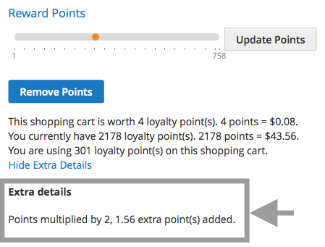 Point details on product page & cart summary page